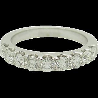 Solid Platinum 1.00ctw G/VS2-SI1 Round Natural Diamond Wedding Band Ring 5.75