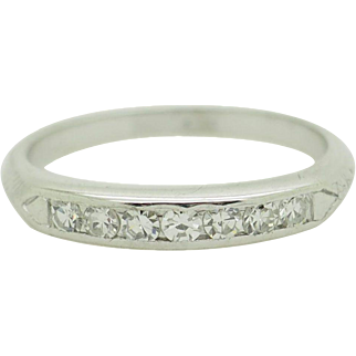 Solid Platinum 0.35ctw F-VS Old-Mine Cut Natural Diamond Wedding Band Ring 6.25