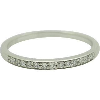 Solid 10K White Gold 0.20ctw F-VS Round Natural Diamond Wedding Band Ring 7.75
