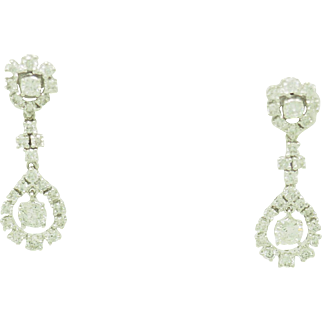 Solid 18K White Gold 1.50ctw G/VS-SI Round Natural Diamond Dangle Drop Earrings