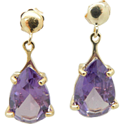 Solid Vintage 14K Yellow Gold Pear Shaped Amethyst Dangle Drop Earrings
