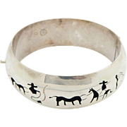 Solid Sterling Silver/925 Taxco Mexico Cowboy & Cattle Hinged Bangle Bracelet