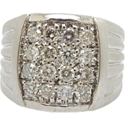 Mens Solid 14K White Gold 1.00cttw H-SI Round Diamond Cluster Band Ring Sz 8.75