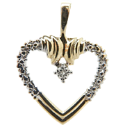 Solid 10K Yellow Gold 0.07cttw H-SI Round Diamond Open Heart Pendant
