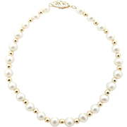 """Solid Vintage CI 14K Yellow Gold Filigree Clasp 4.5mm Natural Pearl with Round Gold Spacers Bracelet-7"""""""