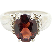 Solid Sterling Silver/925 1.90ct Oval Cut Red Garnet Gemstone Solitaire Ring Sz 7; sku # 4795