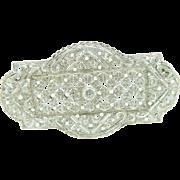Vintage Platinum 1.50cttw F-VS Round Diamond Large Heavy Filigree Pin Brooch