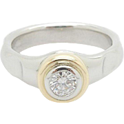 Ladies Tiffany & Co Paloma Picasso Platinum/PT950 & 18K Yellow Gold 0.25ct F-VS1 Round Diamond Solitaire True Love Engagement Band Ring Sz 5.5