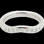 Solid Platinum/PT950 Tiffany & Co Elsa Peretti 0.10ctw F-VS Round Diamond Wedding Band Ring; Sz 5.25