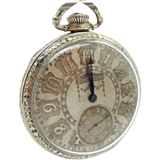 HAMILTON 14K White Gold Filled Grade 912, 17j, 12s Open Face Pocket Watch
