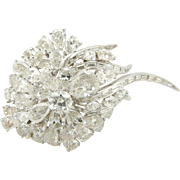 Solid Vintage Platinum 23.00cttw G/H-SI1/SI2 Assortment Diamond Pin Brooch Natural Pear, Round, Marquise & Baguette Diamonds-WOW!!