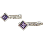 14K White Gold Amethyst w/ Diamond Accents Leverback Hoop Earrings