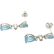 14K White Gold Blue Topaz w/Diamond Accents Dangle Earrings