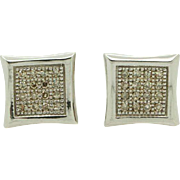 Solid 14K White Gold 0.20cttw H-SI Diamond Square Stud Screwback Earrings