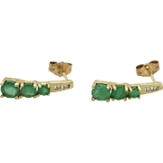 Solid 10K Yellow Gold 0.50cttw Round Green Emerald and Diamond Stud Earrings