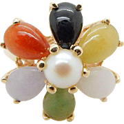 Vintage Solid 14K Yellow Gold Multi-Color Jade and Pearl Cocktail Ring Sz 7.25