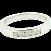 14K White Gold 0.25cttw H/SI Round Diamond 4mm Mens Wedding Band Ring Sz 9.5
