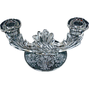 Candle Holder Fostoria Baroque Double Stem Etched MEADOW ROSE Crystal Clear