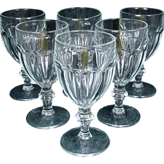 "Set of 6 Gibraltar Rock Sharpe CLEAR Water Goblets 6 3/4""  Libbey Glass Co."