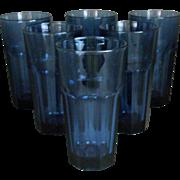 "6  SIX Libbey GLASSES Duratuff Dusky Blue Gibraltar 6 1/4"" Cooler Tumblers"