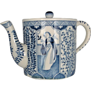 Tea Pot Chinese Kangxi Export Blue White Long Eliza or Lange Lijzen Porcelain Tea Ware