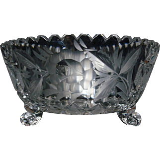 "Ferner Rose Etched 8"" Bowl American Brilliant Period (ABP) 1910 Flower Period"