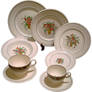 9 pc Place Setting Wedgwood Etruria Belmar Pattern Creamware Flower Basket US Patent 1917