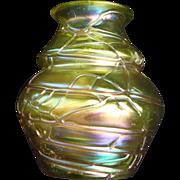 Iridescent Pallme Konig Threaded Bohemian Art Glass Vase Greens