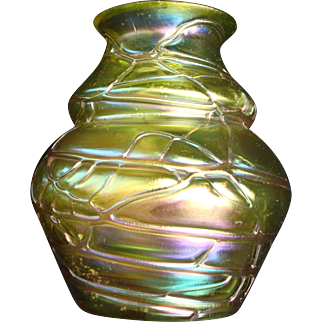 Iridescent Pallme Konig Threaded Bohemian Art Glass Vase Greens