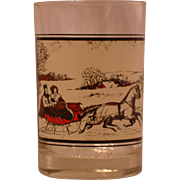 """Set of 6 Currier & Ives """"The Road In Winter"""" Glasses Red Sleigh Arby's  1978 - Red Tag Sale Item"""