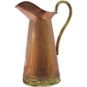 Large 2 1/4 quarts Tagus Copper Water Pitcher Brass Handles & Base