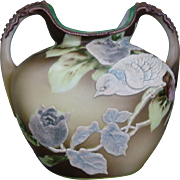 Antique NIPPON Double Handled Vase Moriage Roses & Sparrows Green Maple Mark
