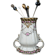 "Hand Painted Nippon ""M"" Mark  Hat Pin Holder & PINS Gold Moriage Jeweled & Pink Rose Bouquets"