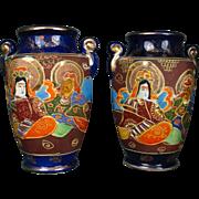 "Pair Kyoto Satsuma Cobalt 7"" Vases - Showa Period - Immortals & Guan Yin- Gold & Moriage"