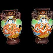 """Pair Kyoto Satsuma 4"""" Vases – Marked Takita - GODDESS Guan Yin - Showa Period - Gold & Moriage"""