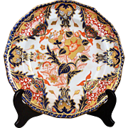 "Kings Pattern Derby Imari 8 1/2"" Dinner Plate 1860's Vibrant Iron Red, Cobalt Blue & Gold"