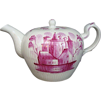 1787 Wallendorf Tea Pot 18th Century - Thuringia Germany - Puce Pink- Scenic Motif Church Houses