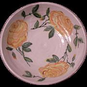 Ceramic BOWL YELLOW ROSES Hand Thrown Artist S H Cobb