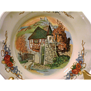 Castle & Thatched Cottage French Sarreguemines CAKE plate in the Obernai pattern