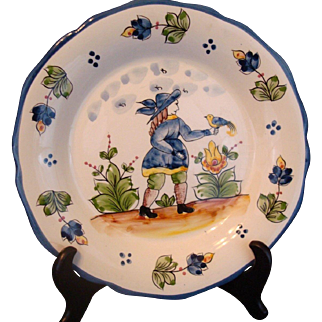 BLUE MAN with BIRD Plate Hand Painted Faience Portugal by JAY WILLFRED for Andrea Sadek