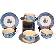 4 CUPS & SAUCERS Royal Currier & Ives Steamboat & Sleigh Ride