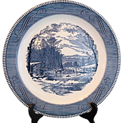 "12"" Large Chop Plate Royal Currier & Ives - Ice Cutting"