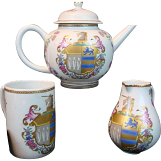 Mottahedeh 3 Pieces TEA SET; Teapot, Creamer & Mug Vista Alegre Chein Lung Chinese Export Armorial Collection