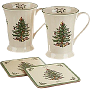 Spode Christmas Tree 2 Mugs and 2 Pimpernel Coasters  ( 4 pieces)