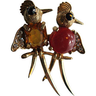 1949 WEISS Jelly Belly Brooch Pair of Birds on a Branch