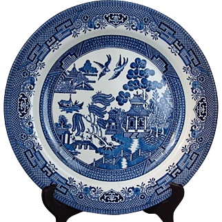 (1) One Dinner PLATE Willow in Blue by Churchill England