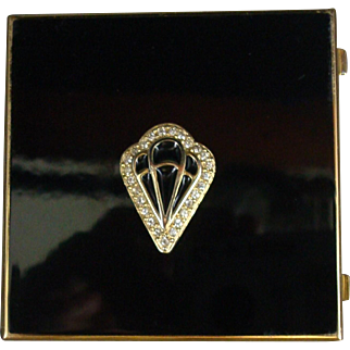 Stratton England Mirror Art Deco Style Black Diamond Shield Purse candy