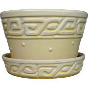 McCoy Pale yellow Greek Key Flower Pot attached saucer