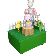 "Peter Rabbit Egg-ceptional Artist Automaton Music Box plays ""Whistle While You Work"""