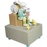 "Peter Rabbit One Rabbit Band Automaton Music Box plays ""Here comes Peter Cotton Tail"""